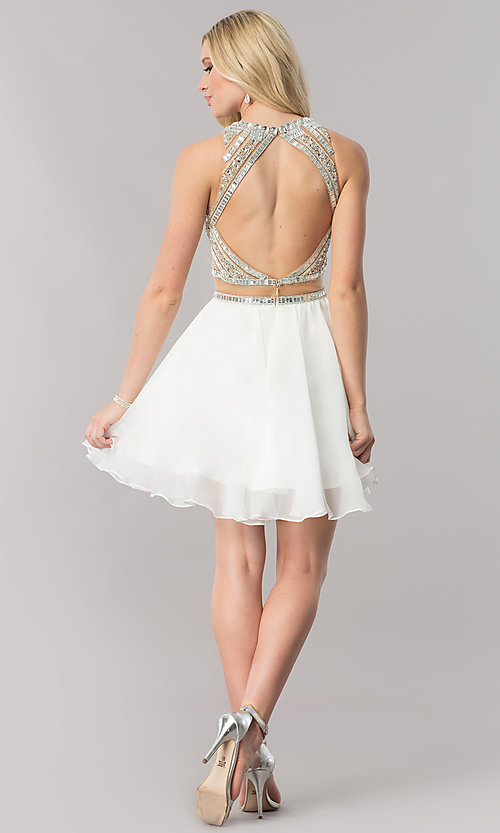 Image of mock-two-piece short chiffon homecoming party dress. Style: CD-1744 Detail Image 2