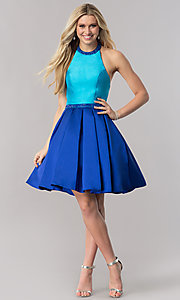 Image of color-block fit-and-flare open-back short prom dress. Style: CD-1750 Detail Image 1