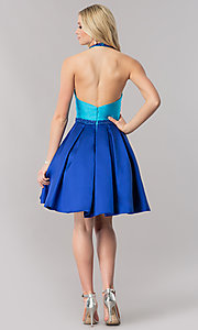 Image of color-block fit-and-flare open-back short prom dress. Style: CD-1750 Detail Image 2