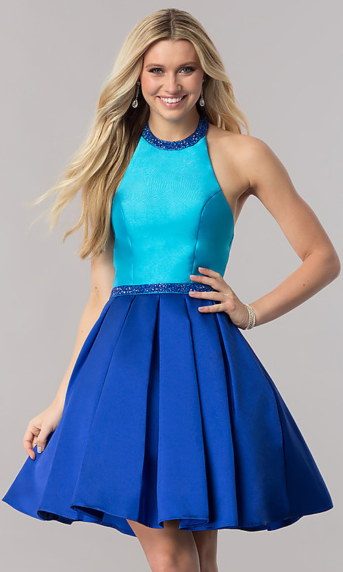 Image of color-block fit-and-flare open-back short prom dress. Style: CD-1750 Front Image