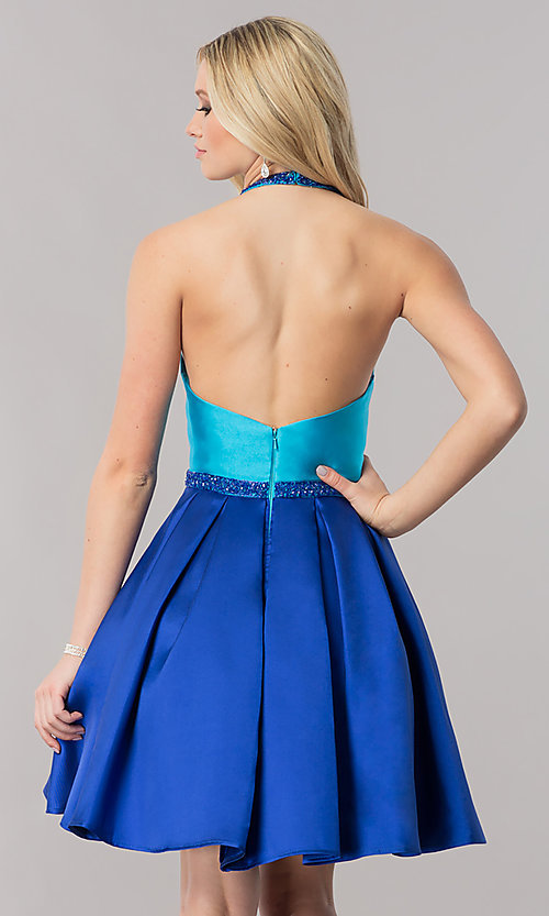 Image of color-block fit-and-flare open-back short prom dress. Style: CD-1750 Back Image