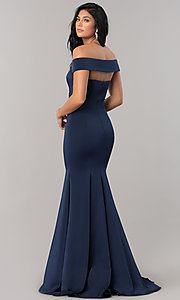 Image of open-back off-the-shoulder long formal dress. Style: CD-1768 Back Image