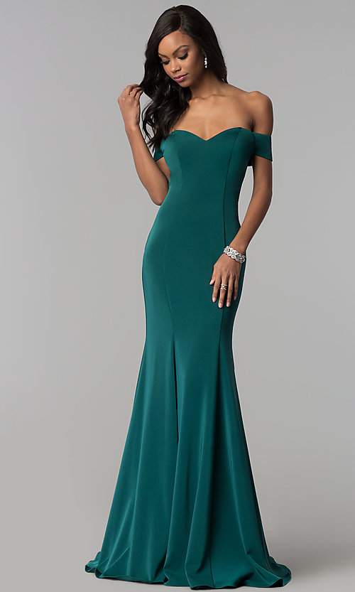 Image of open-back off-the-shoulder long formal dress. Style: CD-1768 Front Image