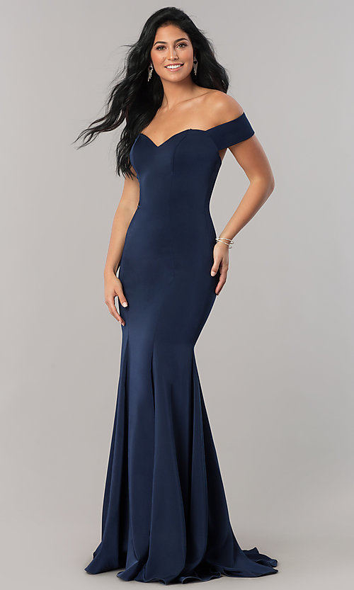 Image of open-back off-the-shoulder long formal dress. Style: CD-1768 Detail Image 1