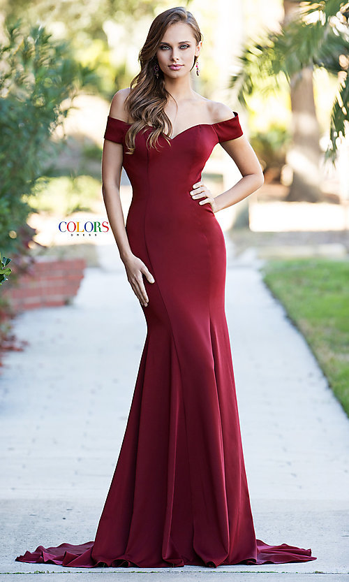 Image of open-back off-the-shoulder long formal dress. Style: CD-1768 Detail Image 3