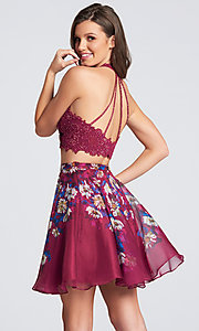 Image of short floral-skirt two-piece homecoming dress. Style: TB-EW21702S Back Image