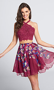 Image of short floral-skirt two-piece homecoming dress. Style: TB-EW21702S Detail Image 1