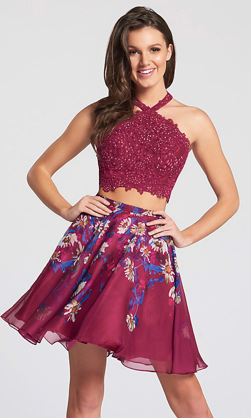 Image of short floral-skirt two-piece homecoming dress. Style: TB-EW21702S Front Image