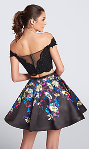 Image of print-skirt two-piece short homecoming party dress. Style: TB-EW21711S Back Image