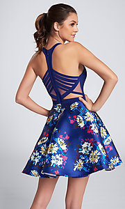 Image of short floral-print royal homecoming party dress. Style: TB-EW21709S Back Image