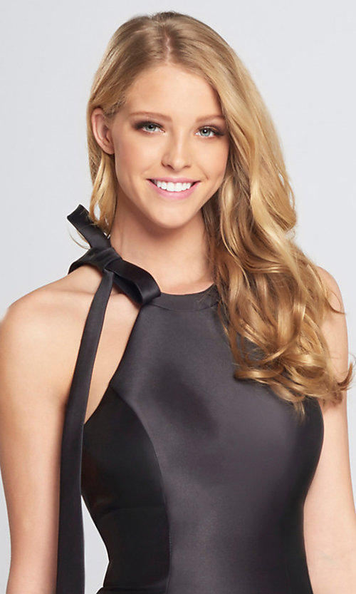 Image of halter short open-back homecoming dress with bow. Style: TB-EW21740S Detail Image 1