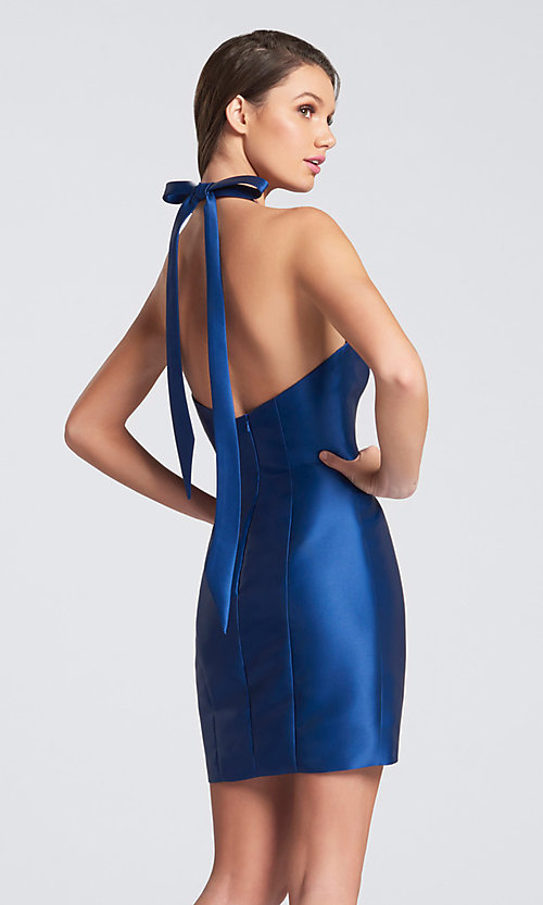 Image of halter short open-back homecoming dress with bow. Style: TB-EW21740S Back Image