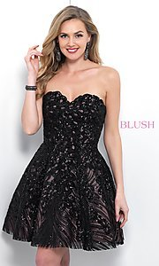 Image of short black lace strapless homecoming dress by Blush. Style: BL-11366 Front Image