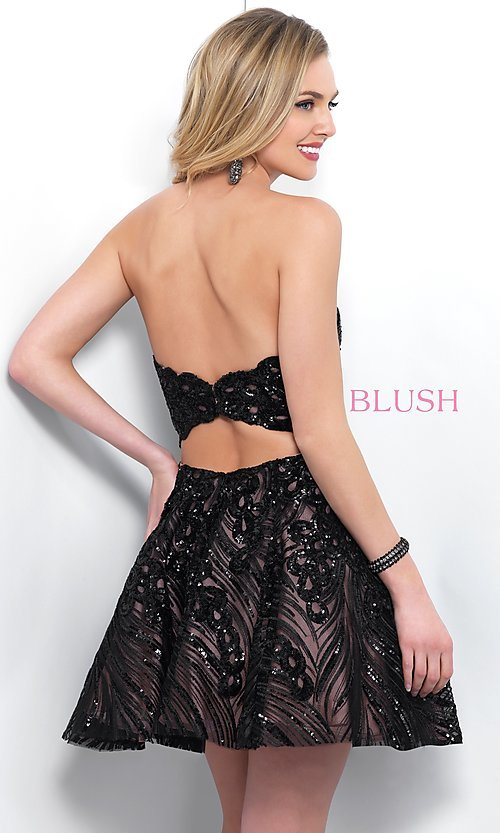 Image of short black lace strapless homecoming dress by Blush. Style: BL-11366 Back Image