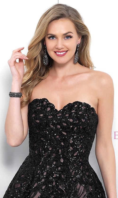 Image of short black lace strapless homecoming dress by Blush. Style: BL-11366 Detail Image 1