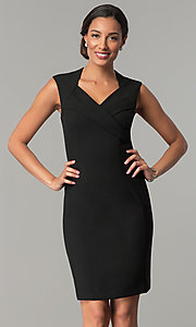 Image of short v-neck wedding guest sheath party dress. Style: ET-EDJMB773 Detail Image 2