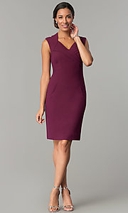 Image of short v-neck wedding guest sheath party dress. Style: ET-EDJMB773 Detail Image 1