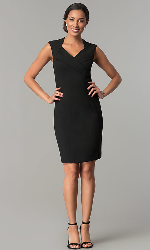 Image of short v-neck wedding guest sheath party dress. Style: ET-EDJMB773 Detail Image 3