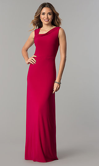 Long Formal Garnet Red Evening Dress