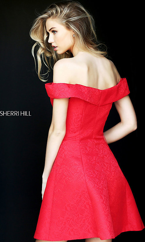 Image of off-the-shoulder Sherri Hill party dress with pockets. Style: SH-S50600 Back Image