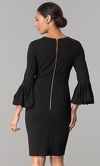 Wedding Guest Short Dress With 3 4 Bell Sleeves