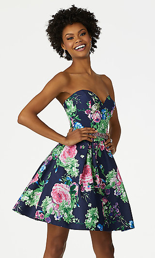 Mori Lee Floral-Print Short Strapless Party Dress
