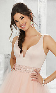 Image of beaded-waist short homecoming dress with v-neck. Style: ML-9454 Detail Image 3