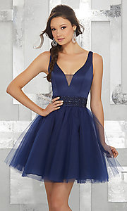 Image of beaded-waist short homecoming dress with v-neck. Style: ML-9454 Detail Image 1