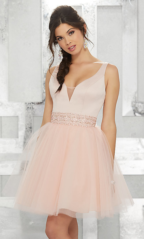 Image of beaded-waist short homecoming dress with v-neck. Style: ML-9454 Front Image