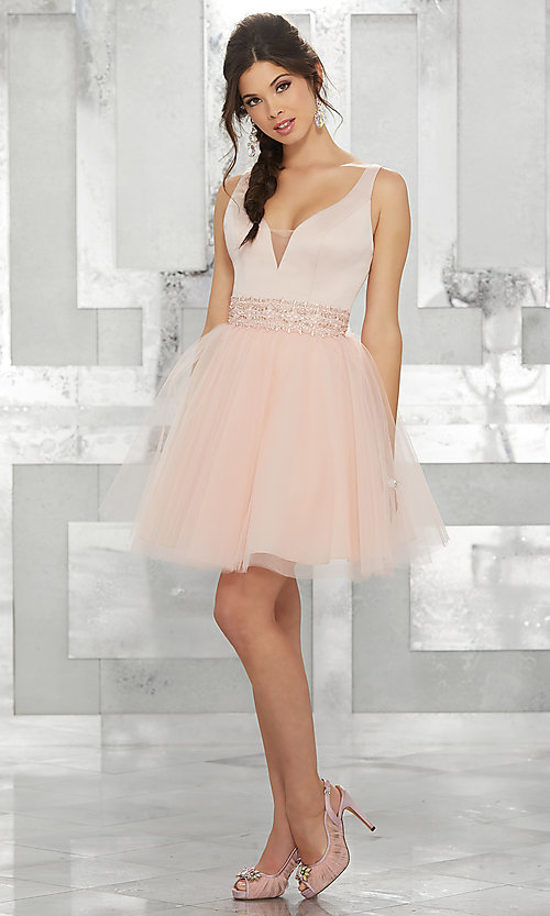 Image of beaded-waist short homecoming dress with v-neck. Style: ML-9454 Detail Image 2