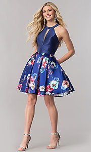 Image of floral-print skirt navy blue short homecoming dress. Style: TE-2292 Detail Image 1