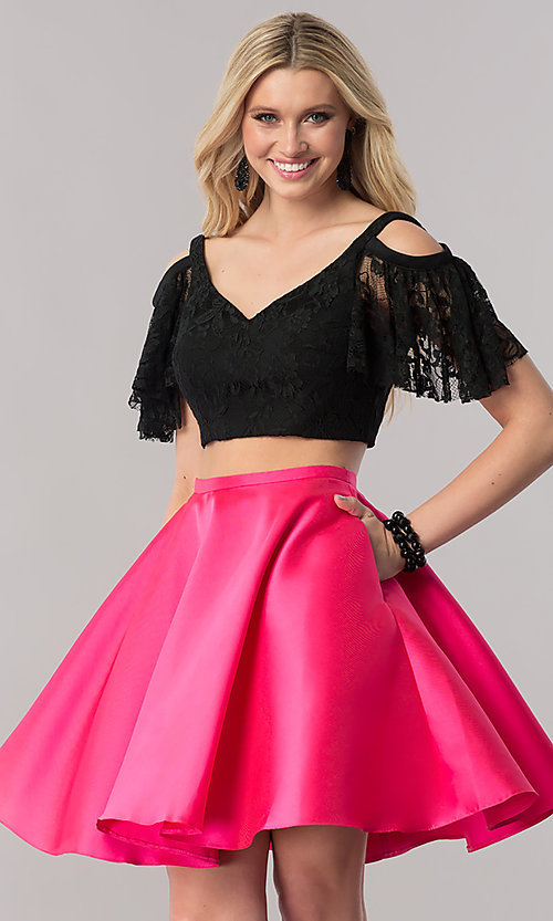 Image of two-piece short prom dress with lace v-neck top. Style: TE-2330 Front Image