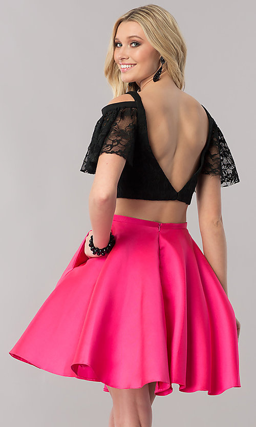 Image of two-piece short prom dress with lace v-neck top. Style: TE-2330 Back Image