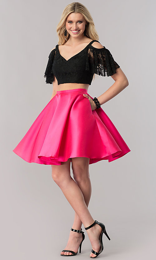 Image of two-piece short prom dress with lace v-neck top. Style: TE-2330 Detail Image 1