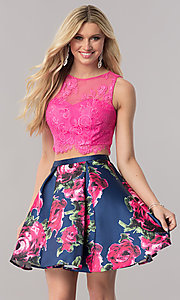 Image of two-piece short homecoming dress with print skirt. Style: TE-2320 Front Image