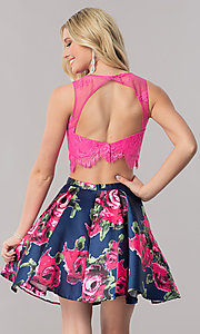 Image of two-piece short homecoming dress with print skirt. Style: TE-2320 Back Image