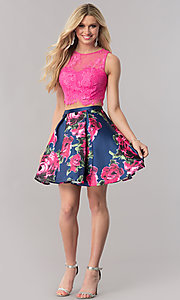 Image of two-piece short homecoming dress with print skirt. Style: TE-2320 Detail Image 1