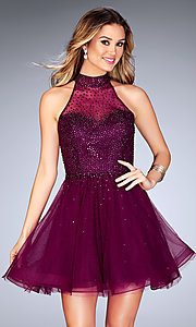 Image of beaded-tulle La Femme short homecoming party dress. Style: LF-25293 Front Image