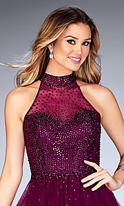 Image of beaded-tulle La Femme short homecoming party dress. Style: LF-25293 Detail Image 1