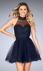 Image of beaded-tulle La Femme short homecoming party dress. Style: LF-25293 Detail Image 2