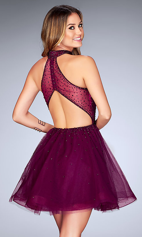 Image of beaded-tulle La Femme short homecoming party dress. Style: LF-25293 Back Image