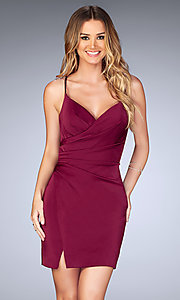Image of short v-neck ruched homecoming dress with open back.  Style: LF-25127 Back Image