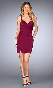 Image of short v-neck ruched homecoming dress with open back.  Style: LF-25127 Detail Image 1