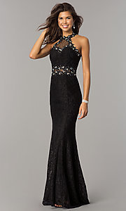 Image of sheer-waist long lace formal dress with beading. Style: FB-GL2297 Front Image