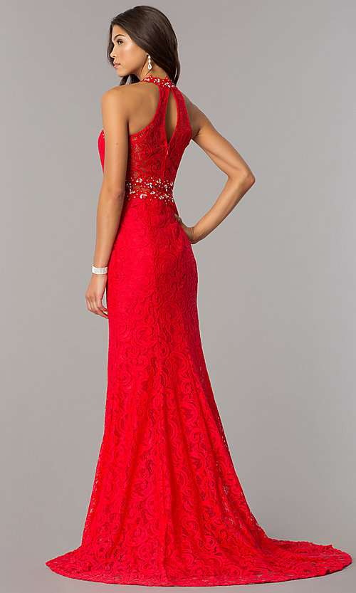 Image of sheer-waist long lace formal dress with beading. Style: FB-GL2297 Back Image