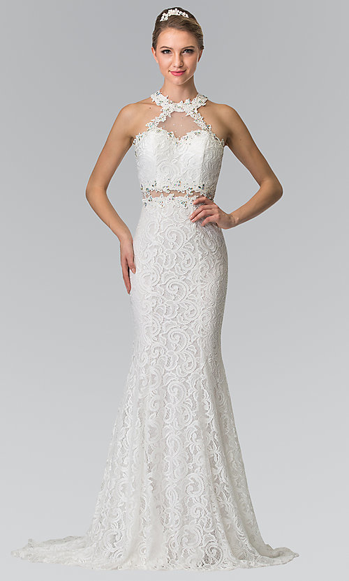 Image of sheer-waist long lace formal dress with beading. Style: FB-GL2297 Detail Image 1