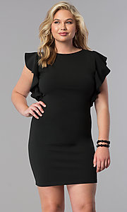 Image of short plus-size wedding-guest dress with ruffles. Style: SY-XD-22095A Detail Image 2