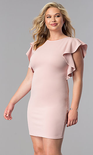 Short Plus-Size Wedding-Guest Dress with Ruffles