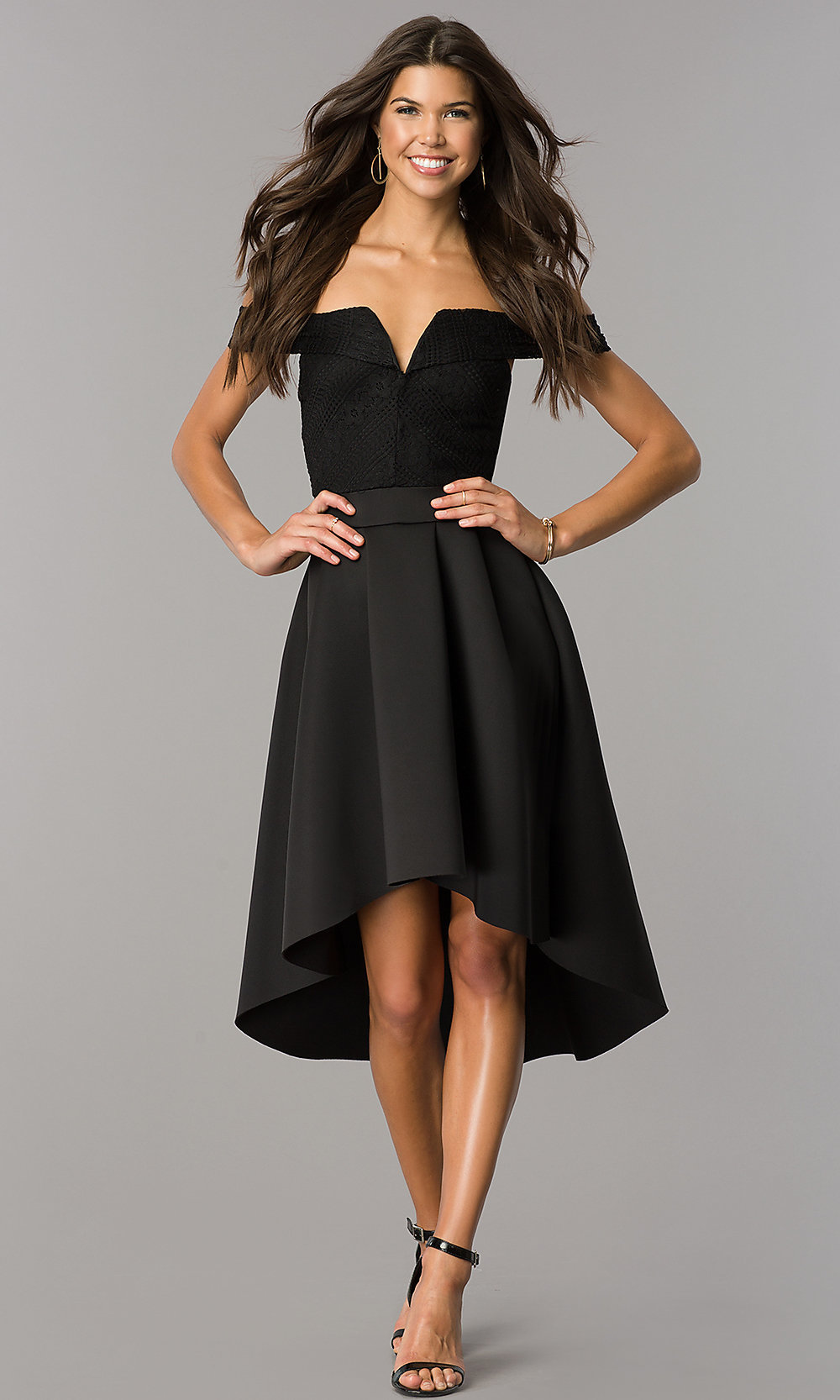 High,Low Off,the,Shoulder Wedding,Guest Party Dress