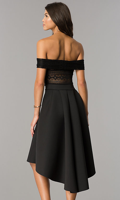 Image of high-low off-the-shoulder wedding-guest party dress. Style: CL-45270 Back Image